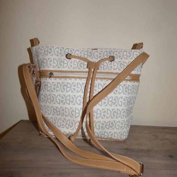 Giani Bernini Handbags - Giani Bernini Block Signature Bucket Bag, Ivory